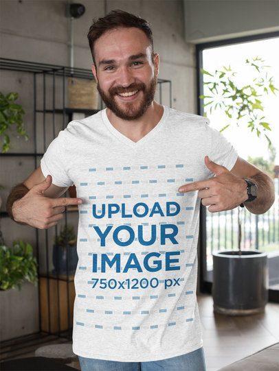 Mockup of a Man Pointing At His Heathered T-Shirt 28737