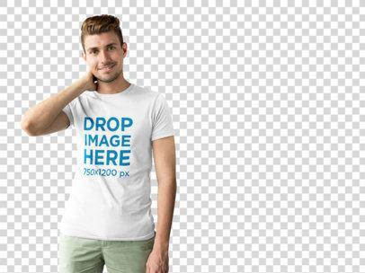 T-Shirt Mockup of a Smiling Young Man at a Photo Studio a9990
