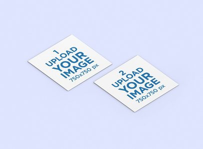 Mockup of Two Squared Business Cards on a Plain Background 284-el