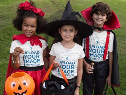Mockup of Three Kids Wearing a T-Shirt and Costumes for Halloween 29310