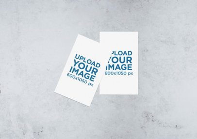 Minimal Mockup of Two Business Cards Lying on a Stone Surface 642-el