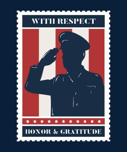 Veterans Day T-Shirt Design Maker Featuring a Shadowed-Soldier Saluting 1813b