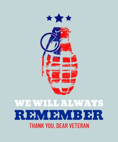 T-Shirt Design Maker with a Grenade Clipart for a Veterans Day 1812c