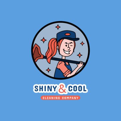 Cool Logo Maker for a Carpet Cleaning Company with a Female Worker Character 2550b