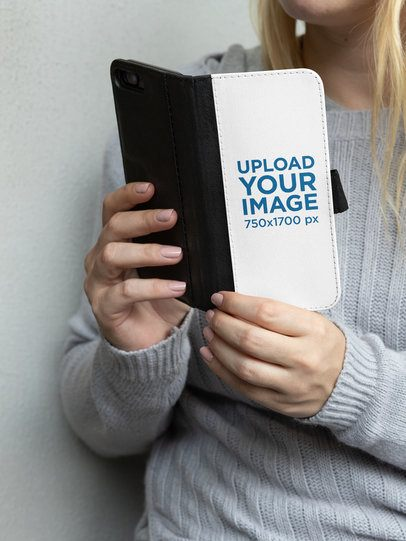 Cropped Face Mockup of a Woman Holding an iPhone 7 Plus Wallet Case 29221