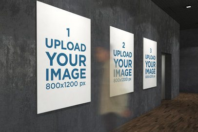 Mockup of Three Exhibition Posters Featuring a Moving Viewer 319-el