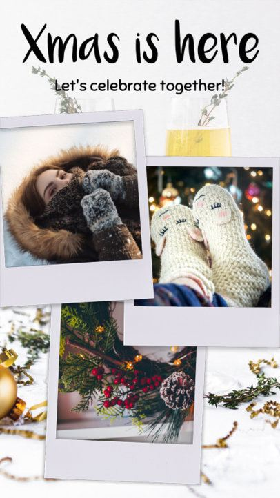 Instagram Story Template Featuring a Christmas-Themed Picture Collage 960i 1826