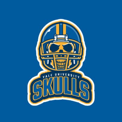 Sports Logo Template Featuring a Skull with a Football Helmet 2556b