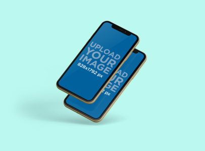 Mockup of Two iPhones 11 in Portrait Position Floating Against a Customizable Backdrop 236-el
