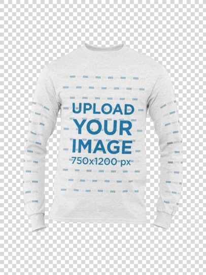 Ghosted Mockup of a Heather Man's Long Sleeve Tee on a Customizable Background 29392