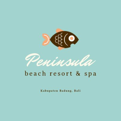 Beach Resort Logo Template Featuring Fish Illustrations 1761f 16-el