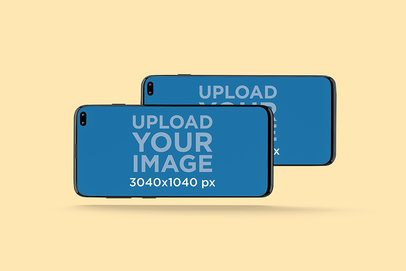 Mockup Featuring Two Samsung Galaxy S10 Floating Against a Solid Color Background 565-el