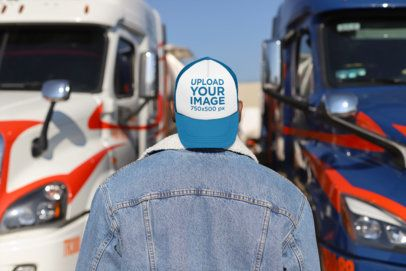 Trucker Hat Mockup of a Man Seen from Behind 29469