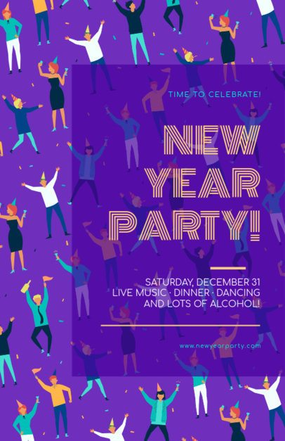 New Year Online Flyer Maker with Illustrated Party People 275g-1863