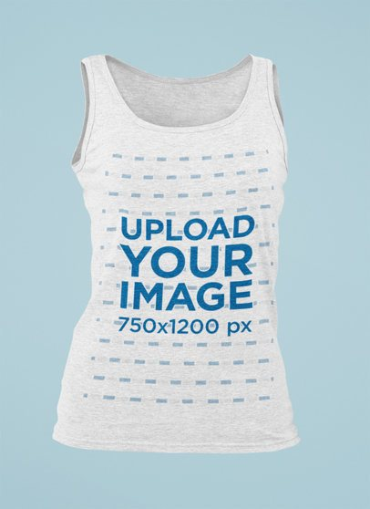 Mockup of a Ghosted Women's Tank Top Against a Plain Background 29405