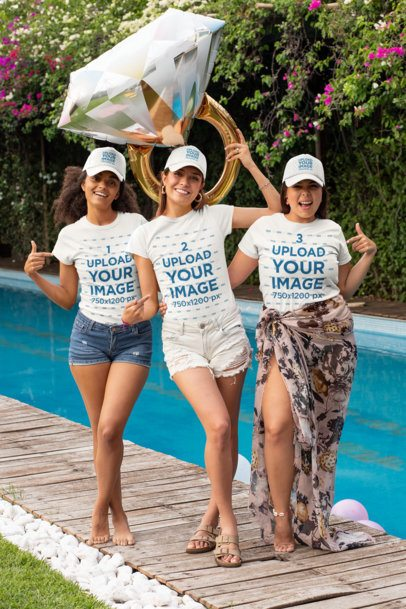 T-Shirt Mockup Featuring Three Women with Trucker Hats at a Bachelorette Pool Party 29695
