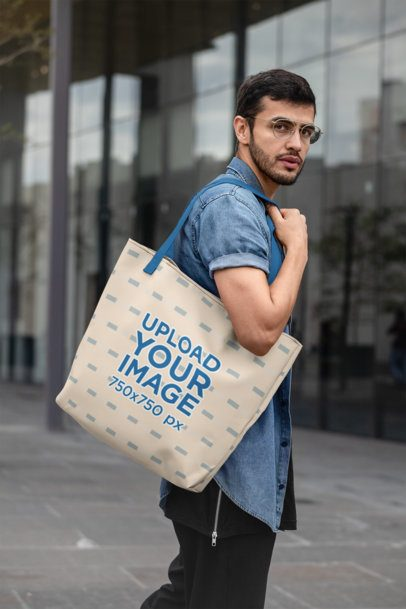 Mockup of a Man with a Tote Bag on the Street 29416