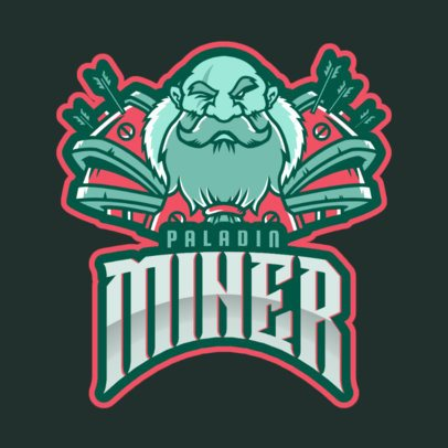 Gaming Logo Template with a Bearded Miner Character Based on World of Warcraft 2613u