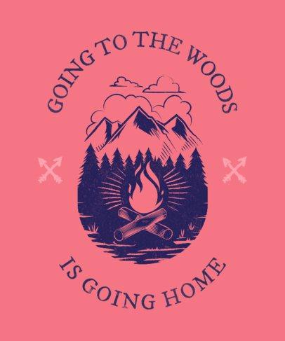 T-Shirt Design Maker Featuring a Campfire Clipart 1848c