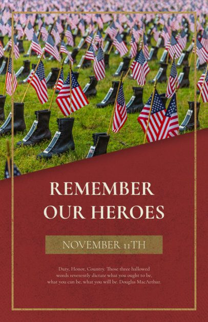 Veterans Day Flyer Generator for an Event to Remember American Heroes 1803g