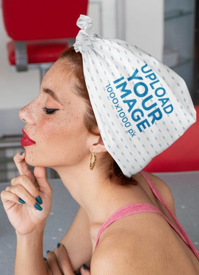 Mockup of a Pinup Woman With a Bandana Wrapped Around Her Hair 29584