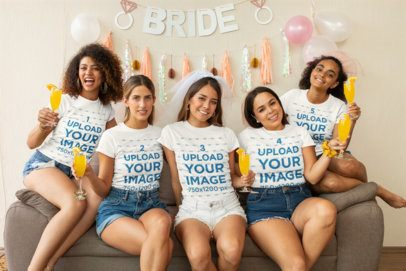 T-Shirt Mockup of a Group of Friends Having Fun at a Bachelorette Party 29690