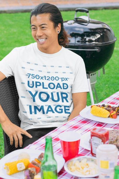 Crewneck Tee Mockup Featuring a Smiling Man by a Grill at a BBQ Party 29724