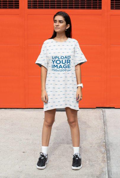 Shift Dress Mockup of a Woman Posing Against a Gate 29745