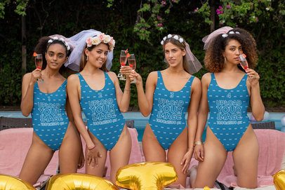 Mockup of Four Girlfriends With Swimsuits at a Bachelorette Pool Party 29673