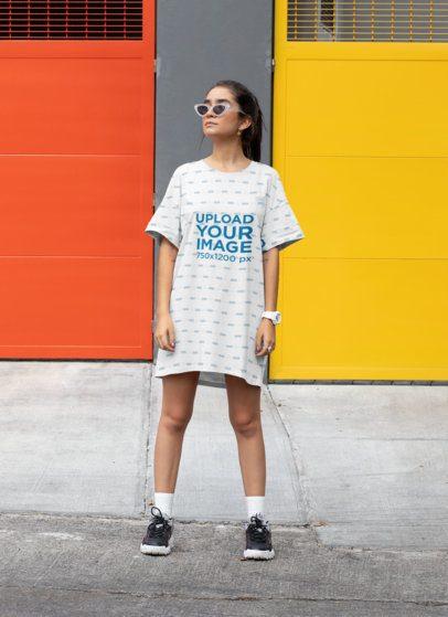 Mockup of a Young Woman Wearing a Shift Dress 29747