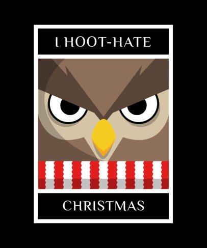 Christmas T-Shirt Template with a Mad Owl Cartoon 1880g