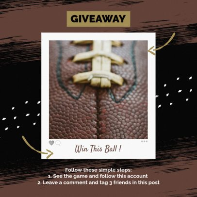 Sports-Themed Instagram Post Template for a Football Giveaway 643k 1927