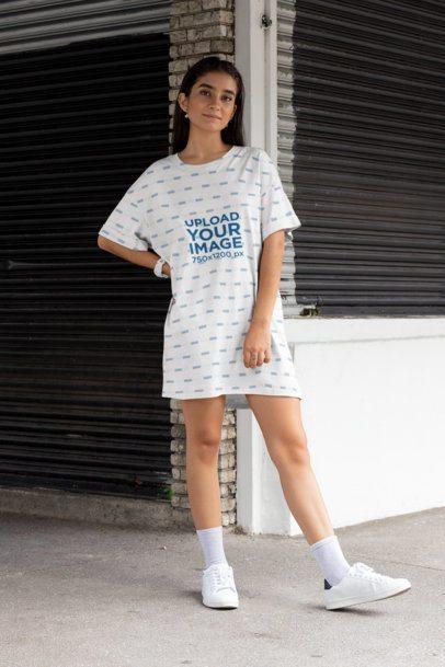 Shift Dress Mockup of a Stylish Woman Posing 29753