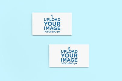 Mockup of Two Business Cards Placed on a Solid Color Surface 750-el