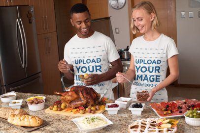 T-Shirt Mockup of a Couple Making Thanksgiving Dinner 29928