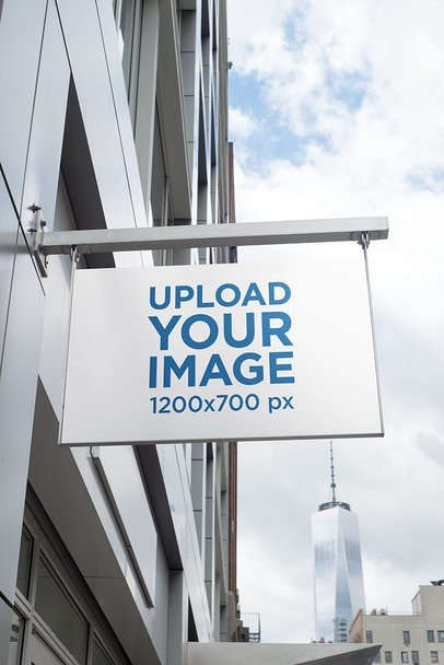 Store Sign Mockup in a City Scenario Featuring a Building in the Background 682-el