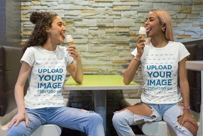 Mockup of Two Best Friends Wearing Customizable T-Shirts While Eating an Ice Cream 29618