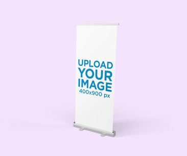 Minimalist Mockup of a Roll-Up Banner with a Solid Color Backdrop 812-el