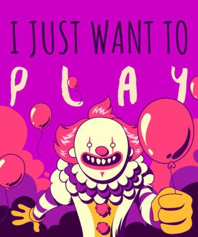 T-Shirt Design Template Featuring a Horror Clown with Balloons 1915e