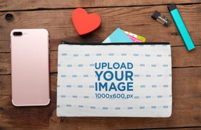 Mockup of a Pouch with Accessories 29992