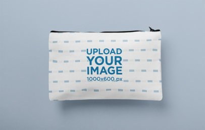 Mockup of a Pouch Laying Flat Over a Customizable Background 29974