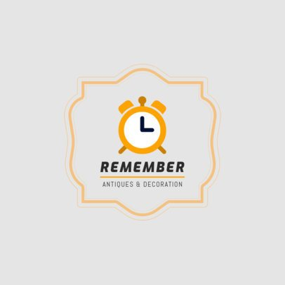 Antique Shop Logo Template Featuring a Vintage Alarm Clock Graphic 1319h 23-el