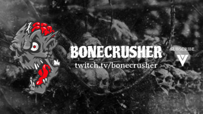 Horror-Style Twitch Banner Template Featuring a Creepy Zombie Face Graphic 1965g