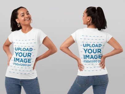 Both Sides T-Shirt Mockup of a Woman with a Ponytail at a Studio 29652