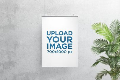 Poster Mockup Hanging Against a Minimalistic Concrete Wall 903-el