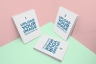 Mockup of Three Books in a Color-Custom Corner 850-el