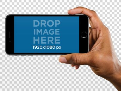 Mockup of an iPhone 6 Plus Being Held in Landscape Position a11021