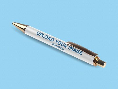 Mockup Featuring a Pen Lying Diagonally on a Solid Color Surface 1001-el