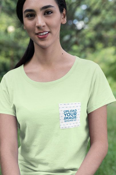 Pocket Mockup Featuring a Young Smiling Woman 30071