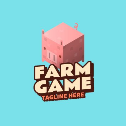 Gaming Logo Template Featuring Minecraft-Inspired Farm Animals 2667e